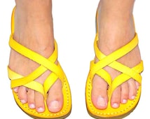 Ladies YELLOW  summer  Handmade Greek Leather Sandals  Flip-Flop   Size's : US 5-10.5  EU 35-42