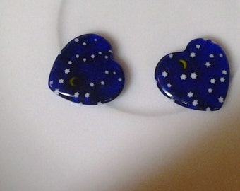 Millefiori Blue Heart Station Beads Moon and Stars Set of 2
