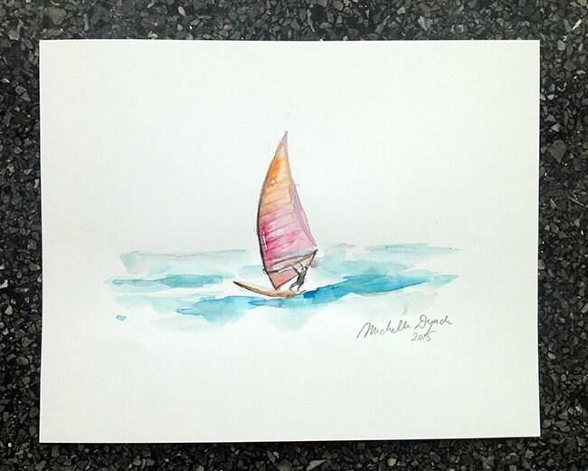 Windsurf Disegno: WindSurf Schilderij Aquarel Origineel Surf Tekening
