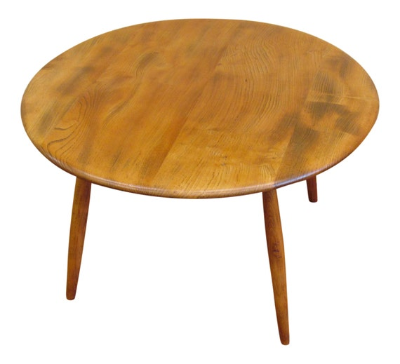 Vintage Ercol 1960's Beech & Elm Round Cocktail / Coffee Table