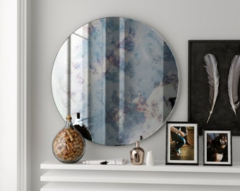 Colorful antiqued mirror. 1940s inspired Modern mirror with handmade antiqued mirrored glass. Colorful wall mirror.