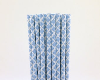 Blue Damask Paper Straws-Blue Straws-Damask Straws-Wedding Straws-French Party Straws-Parisian Straws-Mason Jar Straws-Cake Pop Sticks