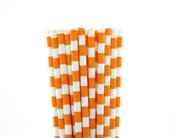 Orange Rugby Horizontal Striped Paper Straws-Orange Straws-Striped Straws-Fall Carnival Straws-Autumn Party Paper Straws-Drinking Straws
