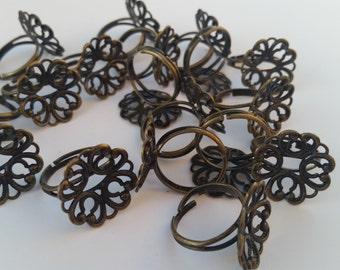 10 Antique Brass Filigree Rings - Brass Blank Ring Pads - Jewelry Supplies - Adjustable Filigree Ring Pads - DIY Rings