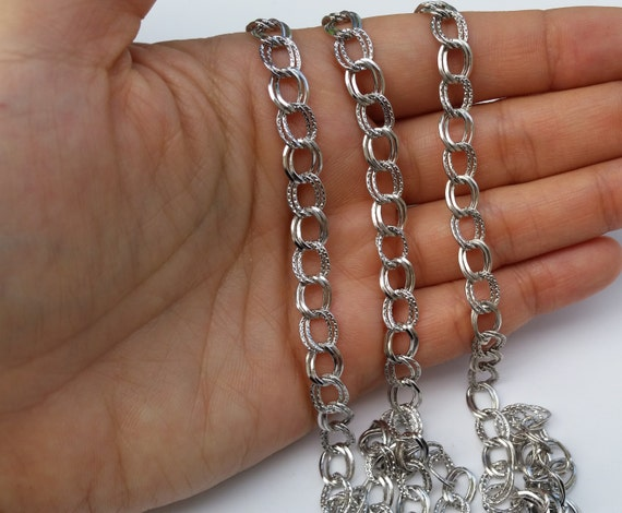 Large Silver Chain, Double Link Chain, 8x6mm Chain ...