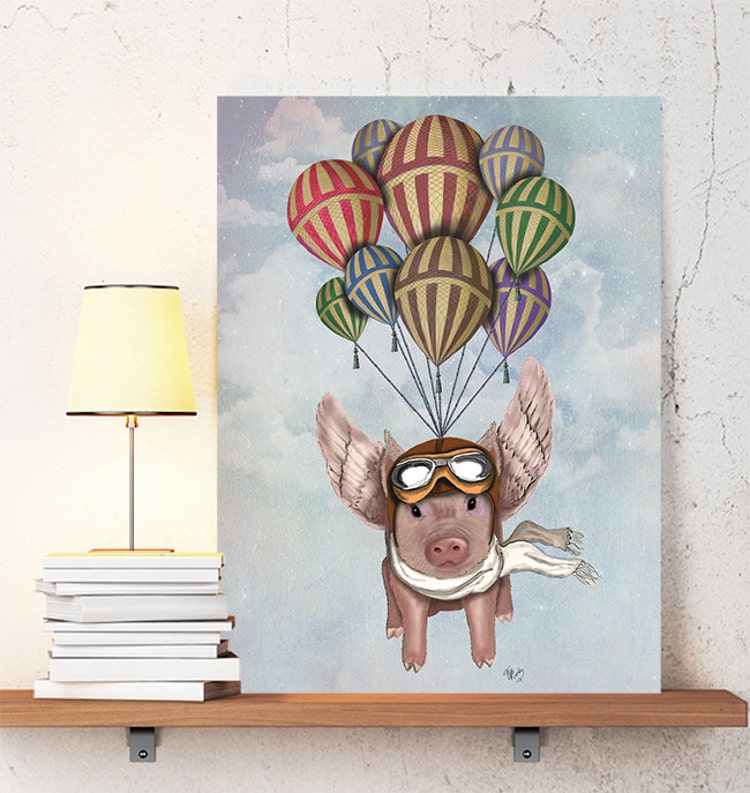 Pig With Wings Pig And Hot Air Balloons Flying Pig By