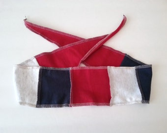 Soft Jersey Headband / Red White and Blue Tie Head Band / Upcycled T Shirt / Recycled T Shirt Wide Head Band /  (No.7)