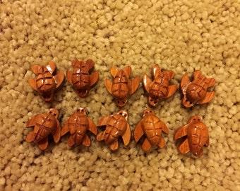 Wood Humpy Turtle Beads