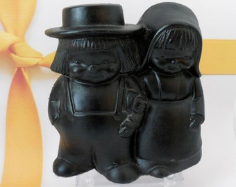 Coal Sculpture, Chunk of Coal Art Figurines,  Amish Boy and Girl Carved Anthracite - Coal Statue - Coal Miner's Gift