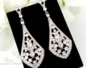 Statement Wedding earrings bridal earrings crystal wedding earrings rhinestone chandelier earrings bridal jewelry vintage glam 1311