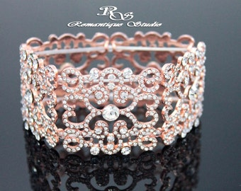Art Deco wedding bracelet ROSE GOLD bridal rhinestone bracelet cuff bridesmaid bracelet cuff wedding jewelry bridesmaid jewelry B0159RG