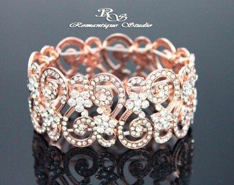 Rose gold vintage style wedding bracelet rose gold bridal bracelet rose gold rhinestone bracelet bridesmaid bracelet wedding jewelry B0120RG