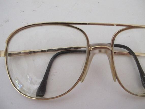 Luxottica Eyeglasses Aviator Gold Frame 1970 1980 Aviator