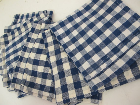 Blue And White Check Napkins Farmhouse Set Of 8 Mid Century