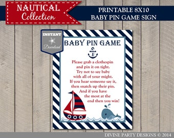 INSTANT DOWNLOAD Nautical 8x10 Baby Pin Game Sign / Printable / Nautical Collection / Item #611