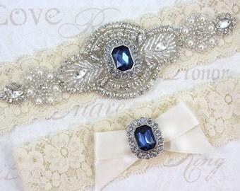 SALE - PRISCILLA - Blue Sapphire Victorian Inspired Garter Set, Wedding Lace Garter, Rhinestone Crystal Bridal Garters, Something Blue