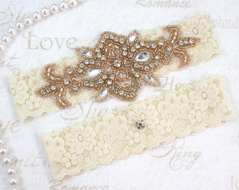 MADRID - ROSE GOLD Wedding Garter Set, Lace Garter, Rhinestone Crystal Bridal Garters