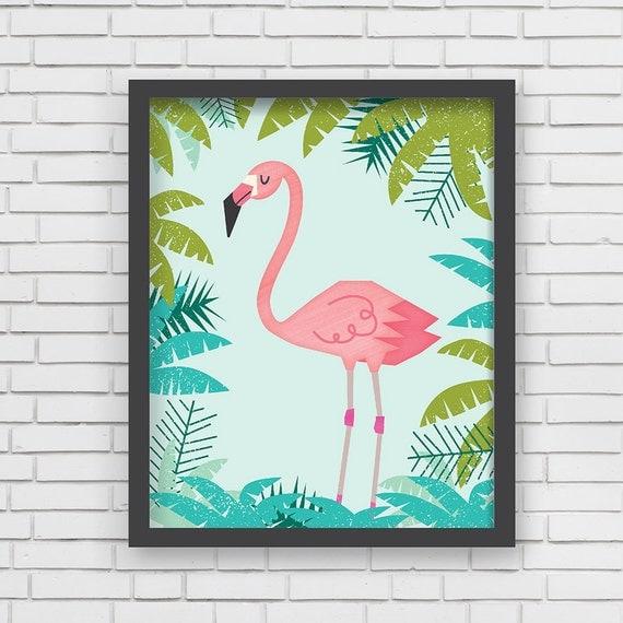 Home Wall Decor Pink Flamingo Jungle Animals 8x10 11x14