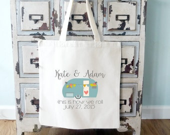 Airstream Trailer Personalized Wedding Tote Bag