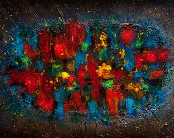 Abstract Large Painting Acrylic Abstract multicoloured impasto palette knife Abstract textured