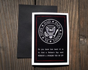Ain't No Tie-wearin' Dad - Ramones Punk Rock-Inspired A6 Fathers Day Greeting Card - (Profanity-laden)