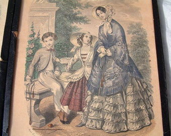 Set of 2 antique french fashion plates. Women and children in early to mid 19th century costume. Paris fashion magazine pages.