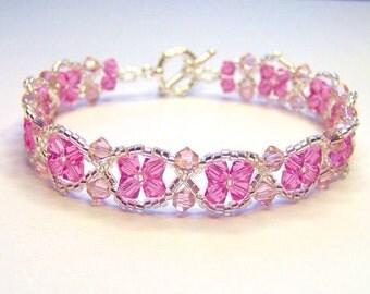 Pink and silver bracelet, pink bracelet, rose pink bracelet, swarovski bracelet, beadwork bracelet, summer bracelet, BR005