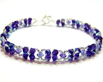 Purple swarovski beaded bracelet, beadwork bracelet, crystal bracelet, criss cross bracelet, purple velvet, tanzanite BR004