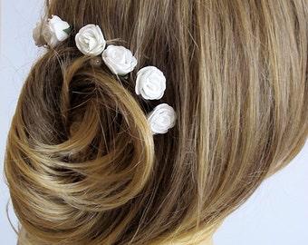 White Rose Wedding Hair Pins,  wedding accessory, Hair Accessories, Bridal Accessories, Bridesmaid Hair - Set of 6
