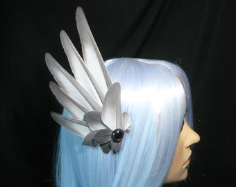 Cinder Angel - handmade Hairpiece with real grey Feathers