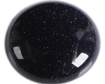 2 pcs of  30mm Sparkly blue sandstone Goldstone round flatback cab cabochon