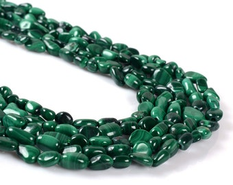 0997 Natural green malachite Pebble Chips loose gemstone beads 16""