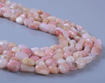 0350  Natural pink peach opal pebble Chips loose gemstone beads 16""