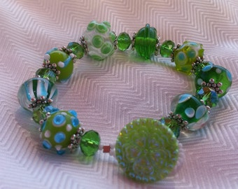 Green With Invy Lampwork and Czech Glass Button Bracelet