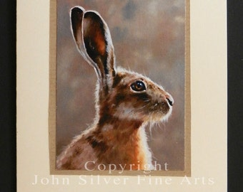 Wild Hare Portrait Hand Made Greetings Card. From an Original Painting by Award Winning Artist JOHN SILVER. GCHA001