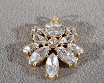 Vintage Art Deco Style Yellow Gold Tone Rhinestones Pendant Charm Jewelry   K