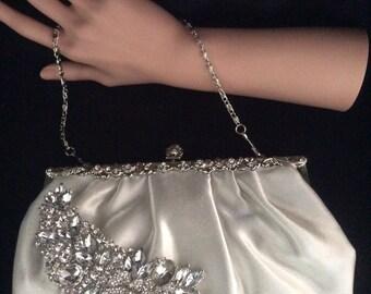 Ivory Satin Clutch, Evening Bag, Bridal Purse, Bridal Clutch Bag, Ivory Clutch