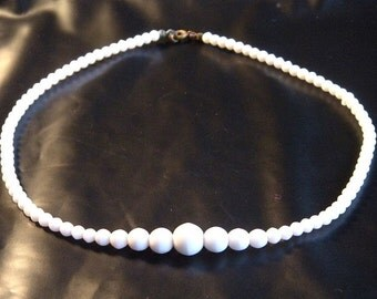 Milk Glass Beaded Necklace Choker