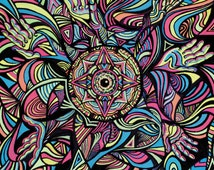 Psychedelic Art Print, Trippy Wall Art, Psychedelic Poster, Psychedelic Print, Digital Print