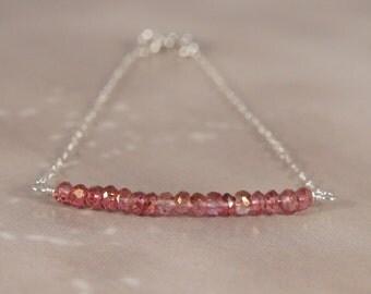 Delegate Sterling Silver Minimalist Bracelet / Genuine Pink Mystic Quartz beaded bar faceted beads / Fill / GF