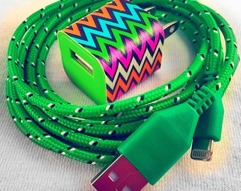 Colored phone chargers, wall adapter included, pink, green, blue, purple, orange, yellow, white, black, i5, i6, iphones, phone accessories