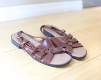 vintage woven brown leather braided strappy sandals womens 9 *