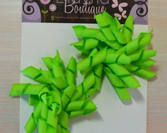 Korker Bow - Set of 2, Lime Green