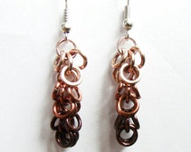 Brown Ombre Shaggy Loops Chainmail Earrings Brown Earrings Brown Jewelry Chainmail Jewelry Dangle Earrings Long Earrings Neutral Tones