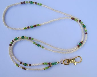 Cream with Green, Brown and Gold Lanyard. Handmade Beaded ID Badge Holder. Necklace ID Holder. Cream Glass beads. Green Crystal beads.