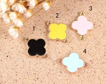 10 pcs of antique gold four-leaf clover drop oil double hole double side charm pendants 20x15mm