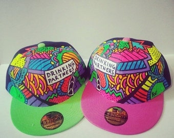 Neon Handpainted Snapbacks, Drinking, Crossfit, Party, Fully Custom, quotes