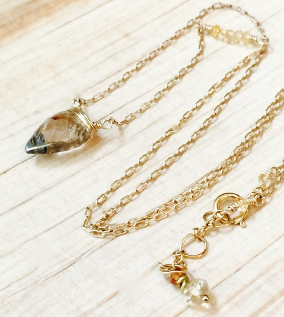 Golden Rutilated Quartz Necklace, Arrowhead Pendant, Creativity , Illumination , Removes Negativity , Healing Jewelry, Wedding Jewelry