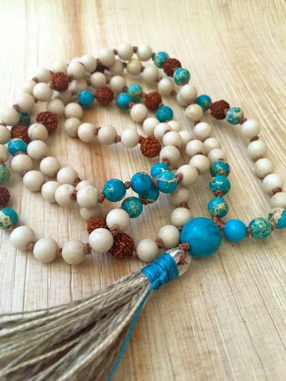 108 Mala Necklace, Riverstone, Turquoise, Mala for Protection, Positivity & Change, Tassel Mala Beads,Spiritual Mala, Yoga Jewelry