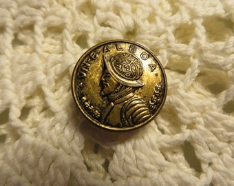 """Metal V. N. Balboa Button  //  3/4"""" Wide in Diameter  //  Wearing Armour  //  Spanish Explorer from 1513"""